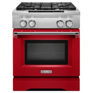 KitchenAid30'' 4-Burner Dual Fuel Freestanding Range, Commercial-Style Signature Red