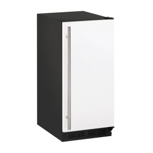 "U-Line1000 Series 15"" Crescent Ice Maker With White Solid Finish and Field Reversible Door Swing (115 Volts / 60 Hz)"