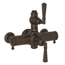 Tuscan Brass Palladian Exposed Thermostatic Valve with Metal Lever
