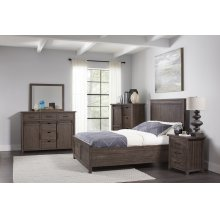 Madison County 5 PC King Panel Bedroom: Bed, Dresser, Mirror, Nightstand, Chest - Barnwood
