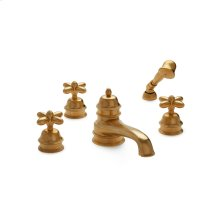 Antique Gold Grey Series I Cross Handle Deck Mount Tub Set with Classical Hand Shower