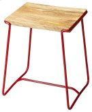 This contemporary stool will stylishly enhance your space. Featuring a Red Finish, it is hand crafted from iron, mango wood. Product Image