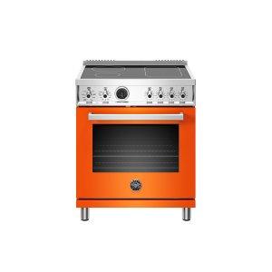 Bertazzoni30 inch Induction Range, 4 Heating Zones, Electric Self-Clean Oven Orange