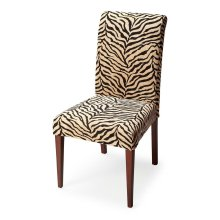 Crafted from poplar solids and upholstered in a Zebra Print fabric featuring a durable cotton/Dacron blend, this chair exudes style and comfort -- style with the bold fabric statement, the shapely silhouette and the tapered legs; comfort with the deep sea