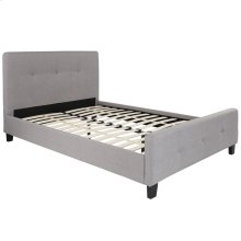 Full Size Tufted Upholstered Platform Bed in Light Gray Fabric