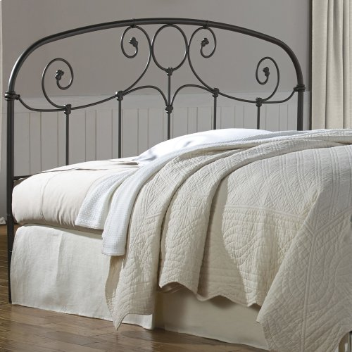Grafton Metal Headboard Panel with Prominent Scrollwork and Decorative Castings, Rusty Gold Finish, King