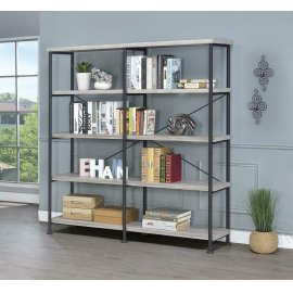 Guthrie Industrial Grey Driftwood Bookcase