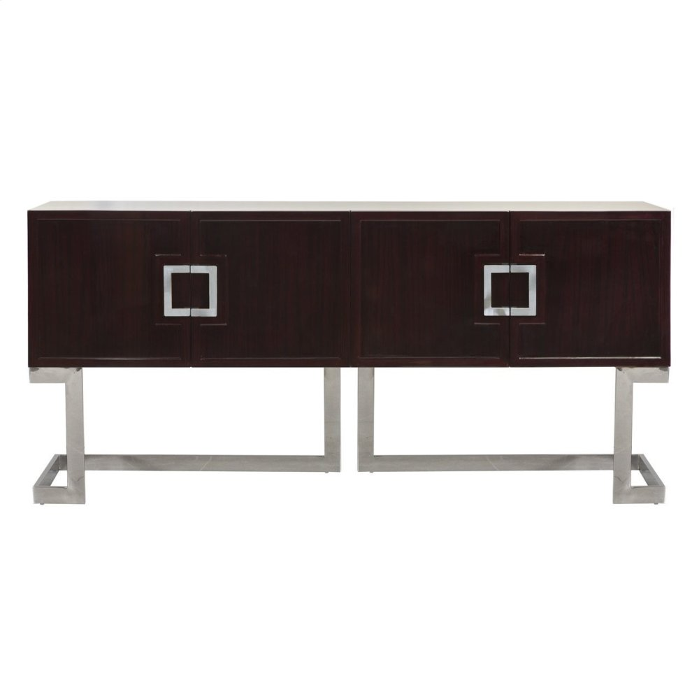 Rosewood Media Console With Stainless Steel Base & Square Handles