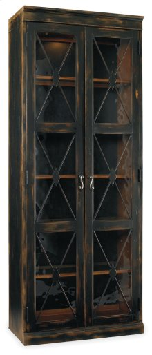 Living Room Sanctuary Two-Door Thin Display Cabinet - Ebony