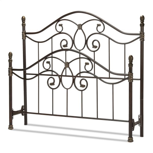 Evanston Metal Headboard and Footboard Bed Panels with Camelback Arches and Soft Gold Highlighted Castings, Blackened Copper Finish, California King