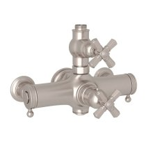 Satin Nickel Palladian Exposed Thermostatic Valve with Cross Handle