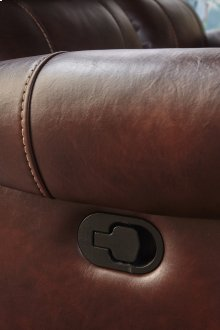 Stanley Mahogany Brown Leather Gel Reclining Glider