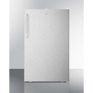 """SummitCommercially Listed 20"""" Wide Counter Height All-freezer, -20 C Capable With A Lock, Stainless Steel Door, Towel Bar Handle and White Cabinet"""