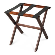 Perfect for any bedroom or walk-in closet, this luggage rack is ready when needed. The Plantation Cherry finished solid wood frame features elegant carving on the stretcher base and legs with three heavy duty cloth straps. Folds away for convenient storag