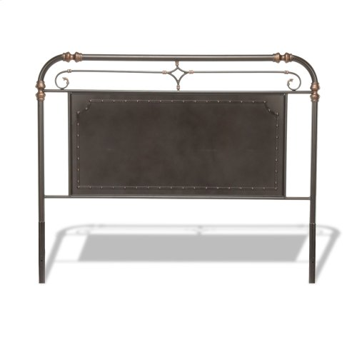 Westchester Metal Headboard and Footboard Bed Panels with Vintage-Inspired Design and Nailhead Detail, Blackened Copper Finish, Queen