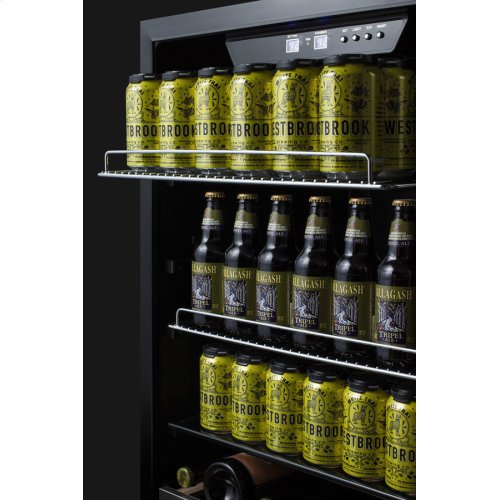 Built-in Undercounter Craft Beer Pub Cellar With Seamless Stainless Steel Trimmed Glass Door, Digital Controls, Lock, and Stainless Steel Cabinet
