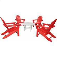 All-Weather 5-Piece Adirondack Chat Group - Red Chairs/ White Table