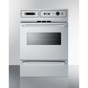 "SummitStainless Steel 220v Electric Wall Oven With Digital Clock/timer and Oven Window; for Cutouts 22 3/8"" Wide By 34 1/8"" High, With Stainless Steel Manifold"