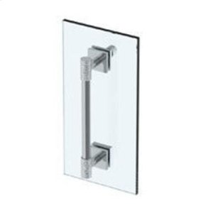 """Sense 18"""" Shower Door Pull With Knob / Glass Mount Towel Bar With Hook"""