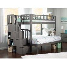 Westbrook Staircase Bunk Bed Twin over Full in Atlantic Grey