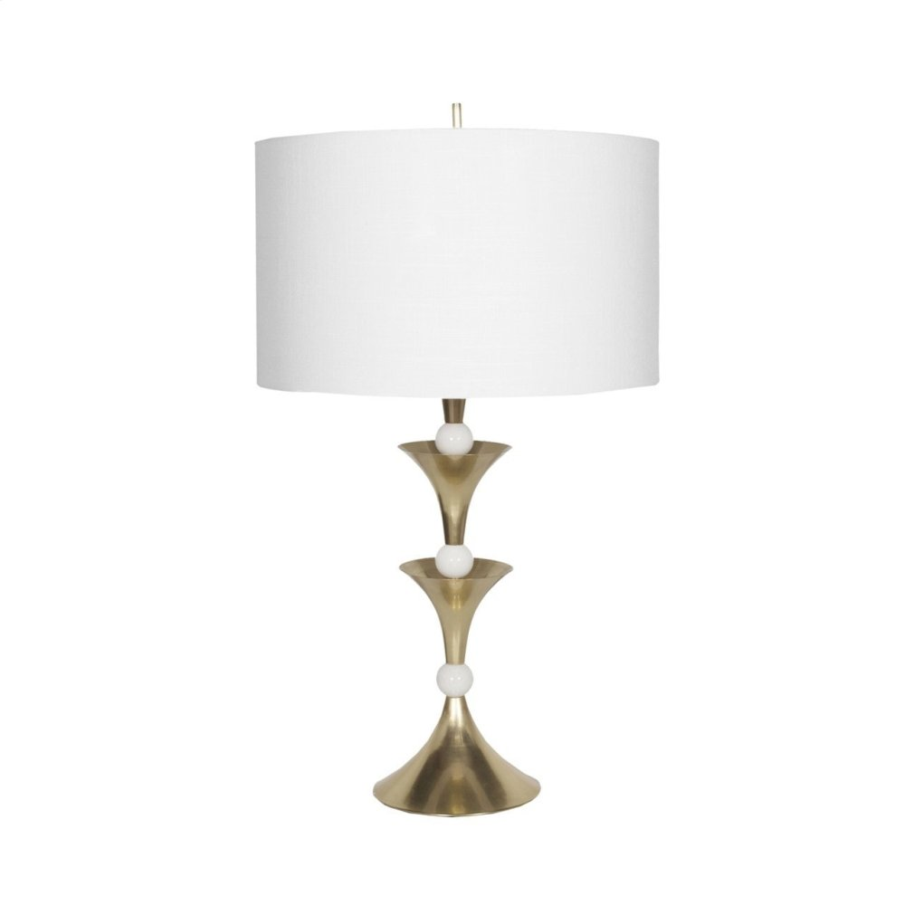 Antique Brass and Marble Table Lamp With White Linen Shade