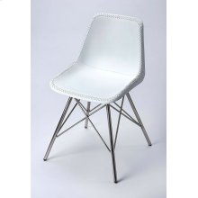 Mid-century modern with a contemporary twist: this go-everywhere molded chair form gets an upgrade to first class with a white stitched leather cover and sturdy nickel finish iron frame. Think home office; dining room or dorm!
