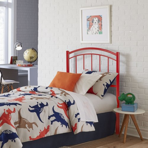 Rylan Fashion Kids Metal Headboard Panel with Gently Arced Top Rail and Vertical Spindles, Tomato Red Finish, Twin