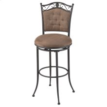 Helena Swivel Seat Bar Stool with Umber Finished Metal Frame, Cocoa Microfiber Upholstery and Button-Tuft Seatback, 30-Inch Seat Height