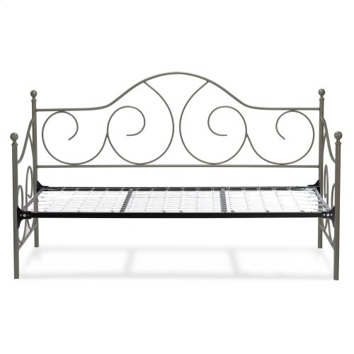 Caroline Complete Metal Daybed with Sloping Back Panel and Link Spring, Flint Finish, Twin