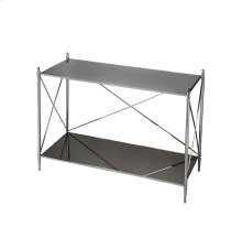 This double-decker console table will be a striking addition to any modern space. Four perfectly proportioned legs meet the floor in delicate ballerina feet. Crafted from iron, glass and aluminum components, its glossy mirrored glass top and bottom shelf