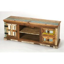 """Short on space but not on design ideas"""" Sometimes it's good to keep things simple. Anchor your den or living room ensemble in effortless style with this rustic entertainment console, featuring solid Mango and Acacia wood construction, with two drawers, a"""