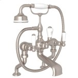 RohlSatin Nickel Perrin & Rowe Edwardian Exposed Deck Mount Tub Filler With Handshower with Edwardian Metal Lever