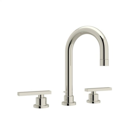 Polished Nickel Pirellone C-Spout Widespread Lavatory Faucet with Metal Lever
