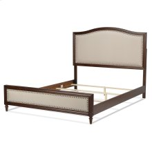 Grandover Platform Bed with Detailed Wooden Frame and Cream Upholstery, Espresso Finish, Queen