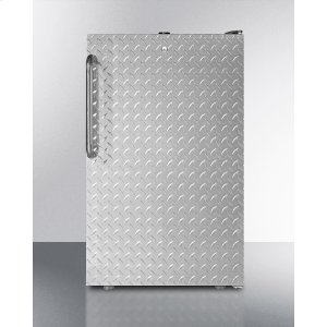 "Summit20"" Wide Counter Height Refrigerator-freezer With A Lock, Diamond Plate Door, Black Cabinet and Towel Bar Handle"