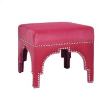 Nickel Nailhead Trim Stool In Pink Velvet