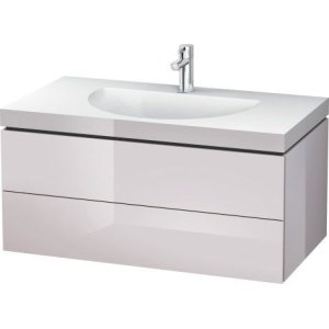 Furniture Washbasin C-bonded With Vanity Wall-mounted, White Lilac High Gloss Lacquer