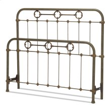 Madera Metal Headboard and Footboard Bed Panels with Intricate Carved Castings and Brass Color Plated Designs, Rustic Green Finish, Queen
