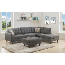 Kourtney Gray Sectional with Storage Ottoman