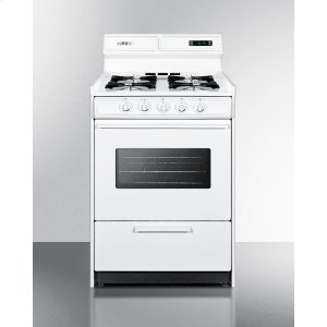 "SummitDeluxe Gas Range In Slim 24"" Width With Electronic Ignition, Digital Clock/timer, Oven Window and Light; Replaces Wtm6307kw"