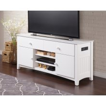 Nantucket 2 Drawer 60 inch Entertainment Console with Adjustable Shelves and Charging Station in White