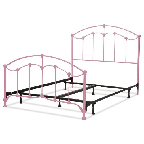 Amberley Complete Kids Bed with Metal Duo Panels and Floral Medallions Accents, Pastel Pink Finish, Twin