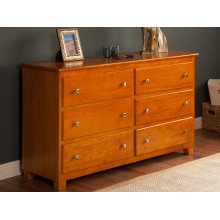 Atlantic 6 Drawer 54 inch Dresser in Caramel Latte