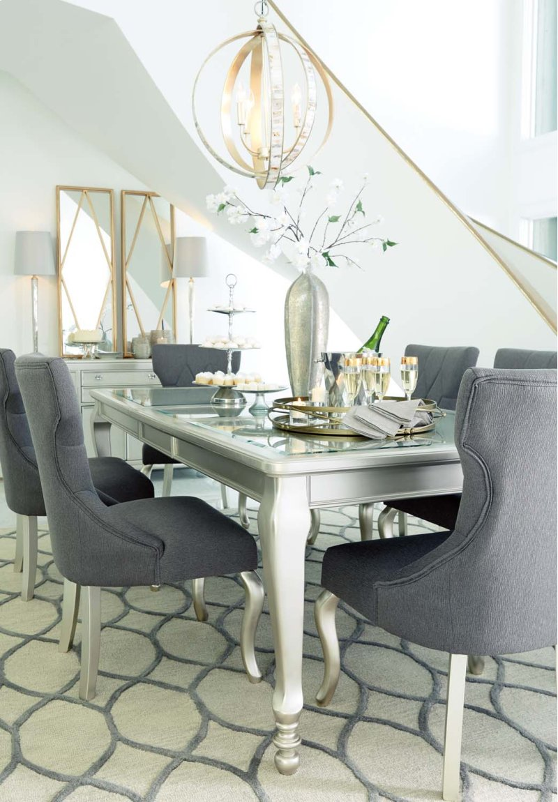 Additional coralayne silver finish set of 2 dining room chairs hidden · additional