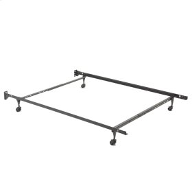 "Restmore Adjustable 45R Bed Frame with Fixed Headboard Brackets and (4) 2"" Locking Rug Roller Legs, Twin / Full"