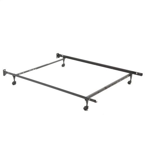 """Restmore Adjustable 45R Bed Frame with Fixed Headboard Brackets and (4) 2"""" Locking Rug Roller Legs, Twin / Full"""