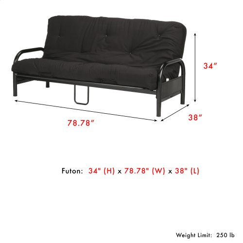 Saturn Adjustable Metal Futon with Industrial Frame and Black Mattress, Black Finish, Full