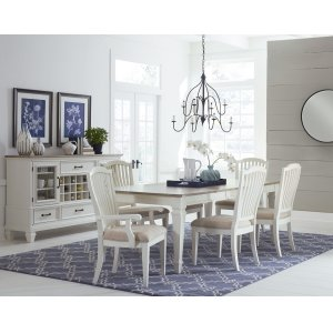 Hillsdale FurnitureRockport 7-piece Rectangle Dining Set With Arm Chairs and Side Chairs - White With Driftwood Top