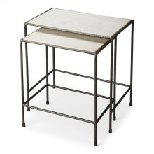 """Do you have space issues in your home"""" These iron and marble nesting tables have and attractive white marble top, their uses are numeral. These tables have been made using quality materials; in a contemporary style. Just use them and then tuck them away."""