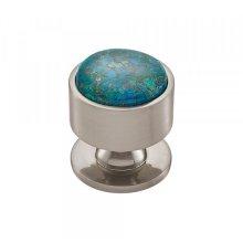 Firesky Mohave Blue Knob 1 3/8 Inch Brushed Satin Nickel